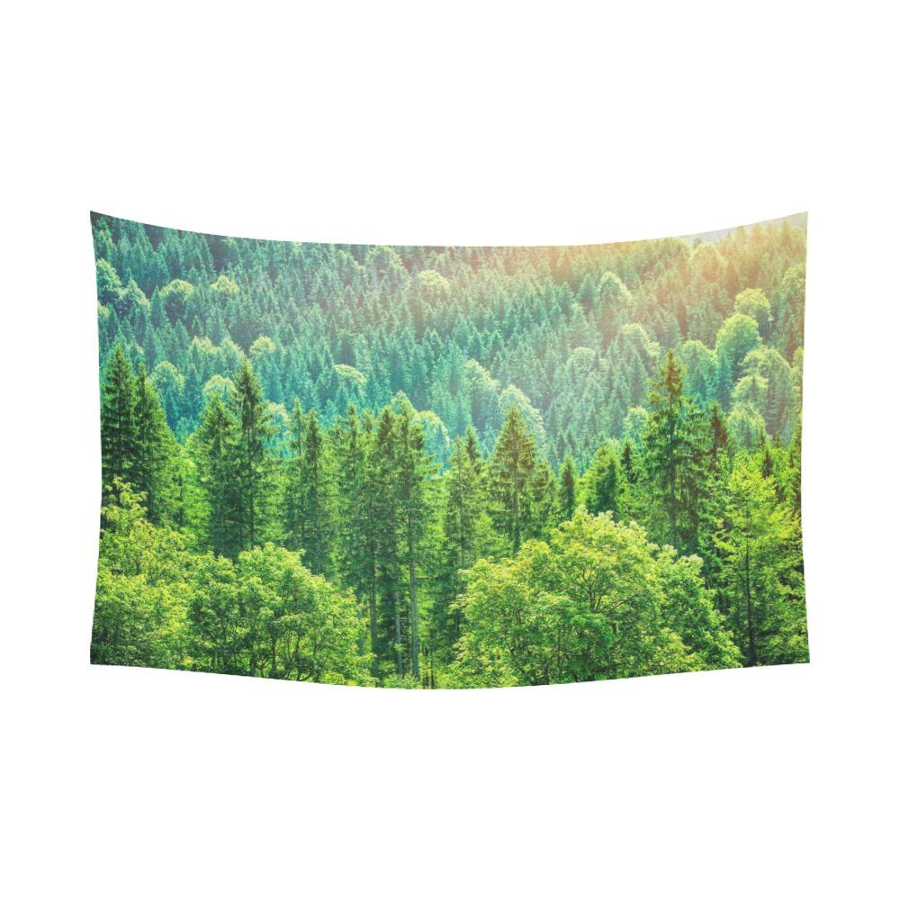 Green Forest Landscape Wall Art Home Decor, Beautiful Bird Eye View on Pines in the Morning Sun Light, Alpine Mountains Tapestry