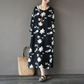 Women's New Autumn Black Embroidered Split Hem Dress Ladies Fall Loose Floral Embroidery Cotton Linen Dress