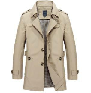 2018 Frühling Und Herbst Männer Windbreaker Business Casual Revers Epaulette Gürtel Jacke Lange Feste Farbe Taste Büro Jacke Verkaufsrabatt 50-70%