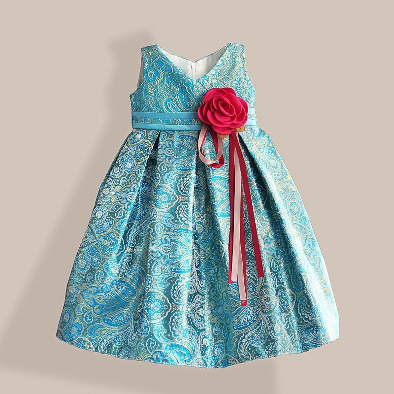 golden sleeveless print girl party dress with bow elegant kids evening dress for 3-8Y 2 8y korea style cute bow belt sleeveless round collar assorted color performing dress layered dress girl evening dress