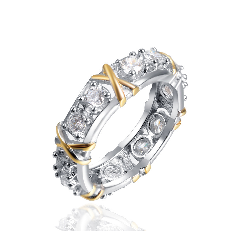 New Arrival White Crystal Paved Wedding Ring For Women Letter X Shape Ring Engagement Finger Ring Hand Jewelry Accessories