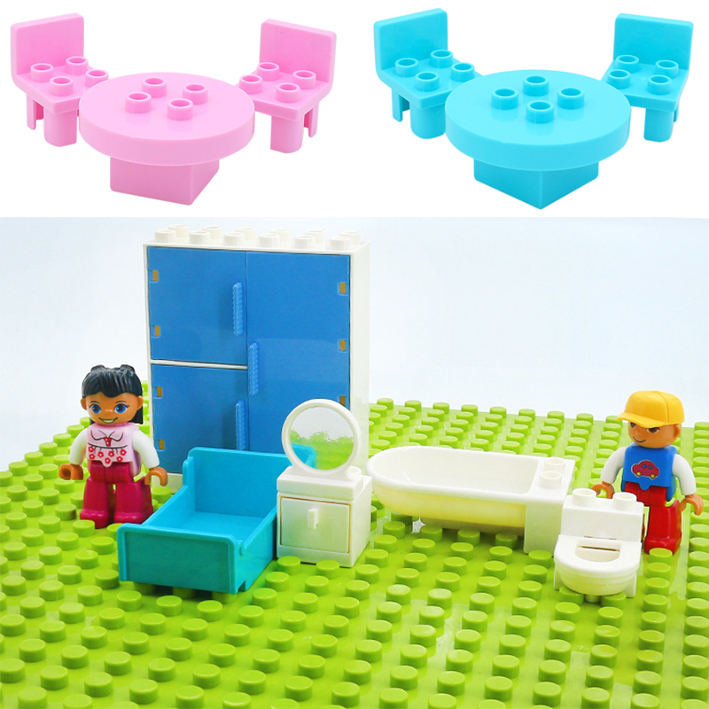 Sofa Mirror Chair Bed Pan Dining Table Set Bricks Big Particles Building Blocks Compatible with Duploed Accessory Kids DIY Toys