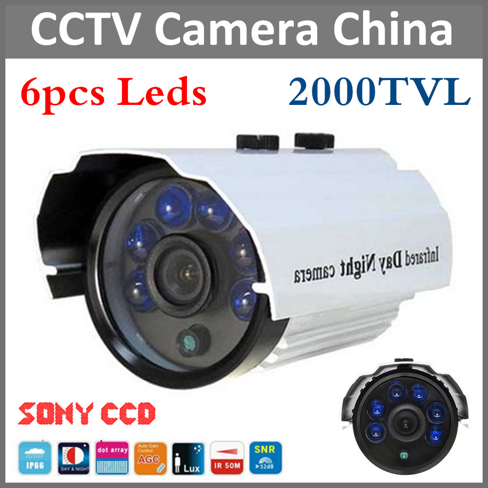 Hot promotion 2000tvl Sony CCD IR Outdoor & indoor CCTV Bullet Camera 6pcs Leds Security camera IR Cut night vision waterproof free shipping sony ccd cctv camera 1200tvl ir cut filter security ir dome camera indoor home security night vision video camera