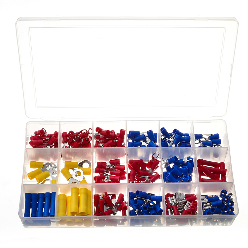 300pcs Electrical Wire Crimp Terminals Kit Insulated Terminator Spade Butt Connectors Assorted terminales Set 300pcs set assorted insulated electrical wire terminals crimp connectors spade butt 828 promotion