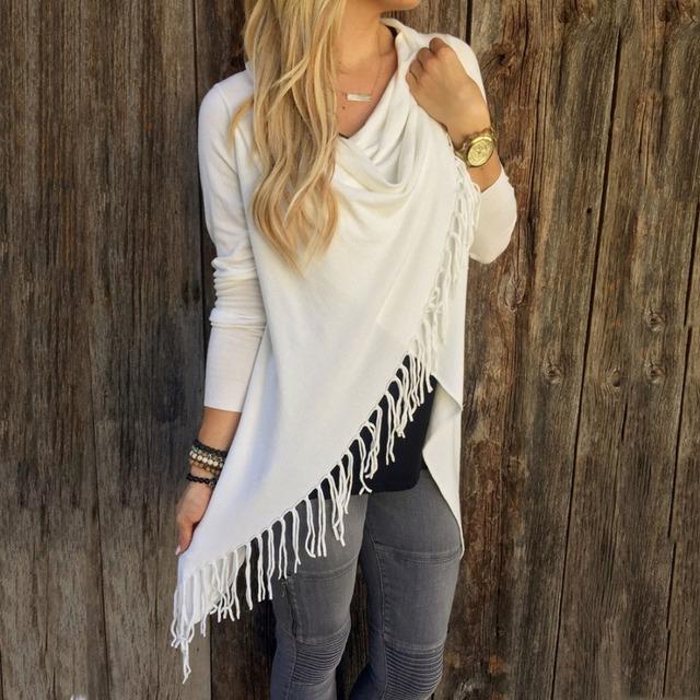 YJSFG HOUSE Spring Autumn Cardigans Tops Women Casual Loose Long Sleeve Irregular Hem Tassel Cardigan Cape Poncho Black Gray