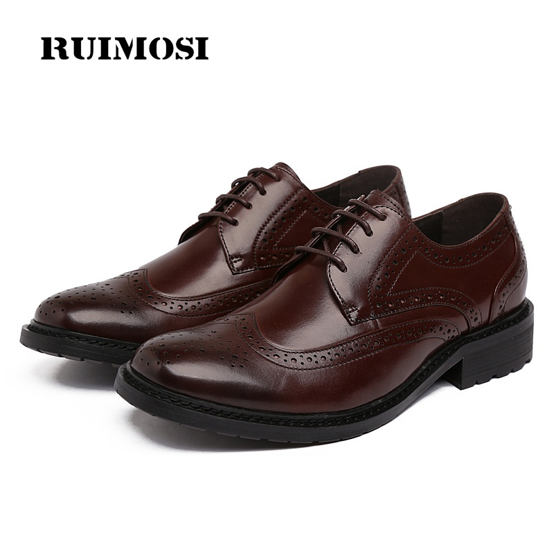 RUIMOSI Designer Brand Man Formal Dress Shoes Vintage Genuine Leather Brogue Oxfords Round Toe Men's Wing Tip Flats FD63