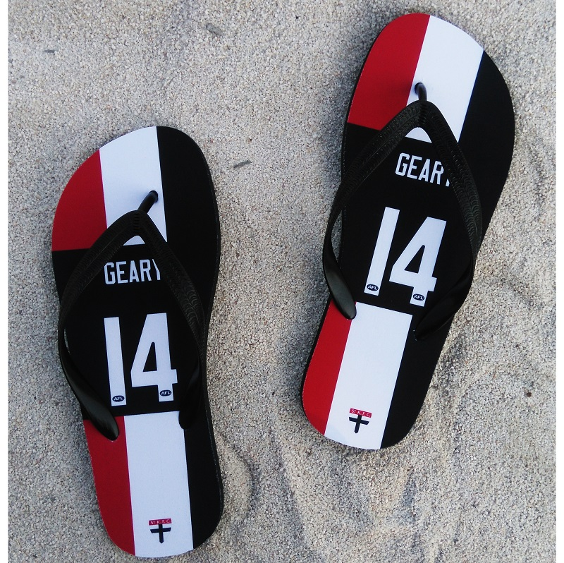 St Kilda Saints <font><b>AFL</b></font> Slipper geary any name number rugby Beach shoes Australia football fans Flip flops