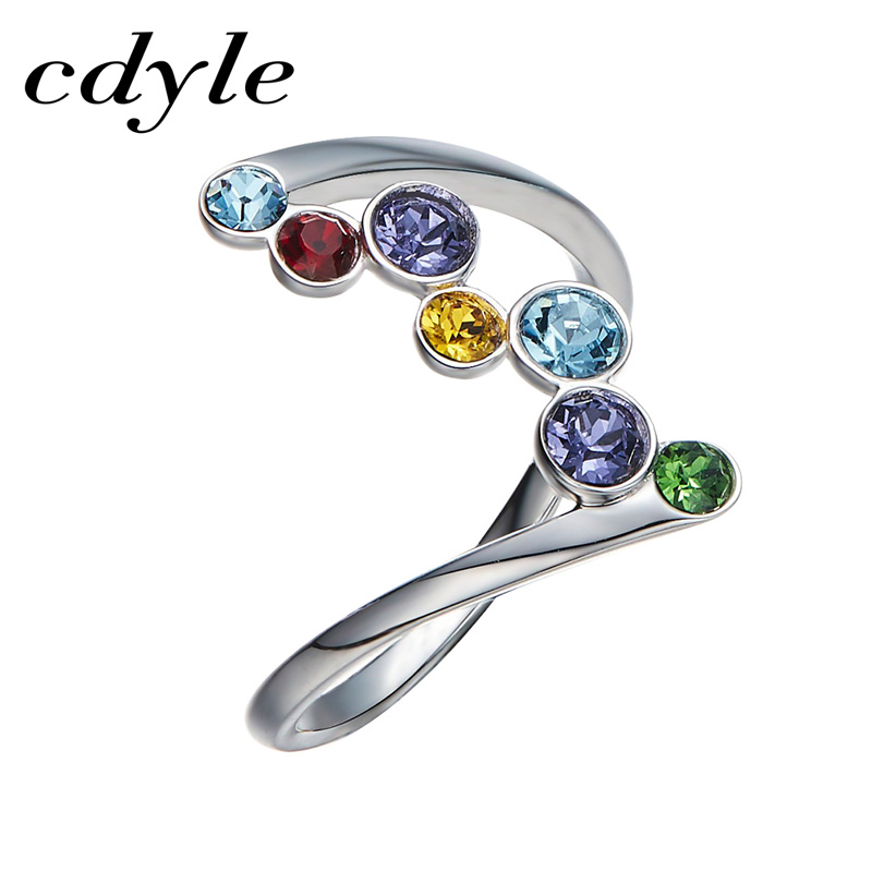 Cdyle Crystals From Swarovski Luxury Ring Fashion Romantic Anniversary Mulit Color Engagement Women Jewelry Elegant Rainbow New