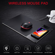 Wireless Charger Mouse Pad Aluminum Alloy Charging Mat for iPhone X 8 8 Plus Samsung Galaxy