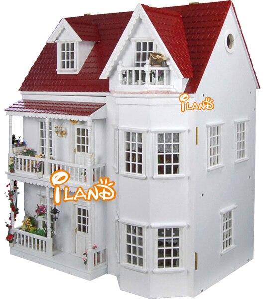 Onwijs 1:12 tuin villa nordic stijl diy groot poppenhuis 3D miniatuur AO-44