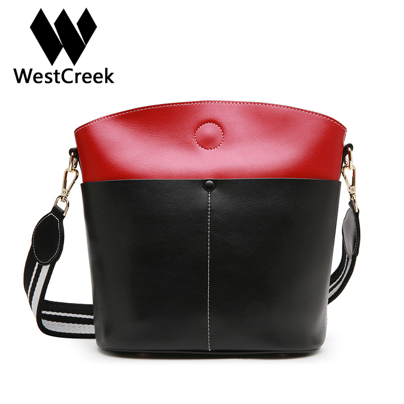Westcreek Brand Women Bucket Bag Large Capacity Simple Lady Handbag Casual Shoulder Crossbody Bag Fashion Tote with Two Strap