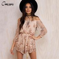 Hot Sale Slash Neck Jumpsuit Women Long Sleeve Sexy Sequins Lace Bodysuit Short Playsuit With Sashes