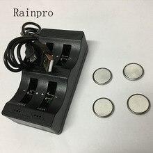 Rainpro 1 satz/los (4PCS LIR2032 + 1PCS intelligente ladegerät) 3,6 V Wiederaufladbare münze zelle lithium batterie