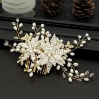 Simple Korean Bride Wedding Dress Beaded Headdress Comb Ornaments Accessories Dinner Bridesmaid Flower Shape