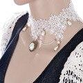 Moda Elegante Hecha A Mano de Perlas Collar de Gargantilla de Encaje Gótico de La Vendimia Accesorios de La Joyería Declaración para Las Mujeres Del Banquete de Boda