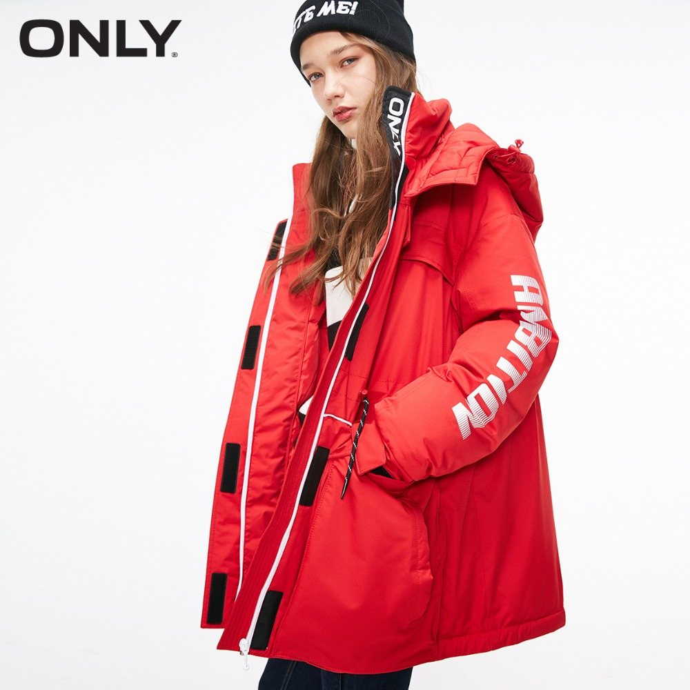 ONLY 2019 Women's White Duck Down Medium Loose Fit Down Jacket |118312601
