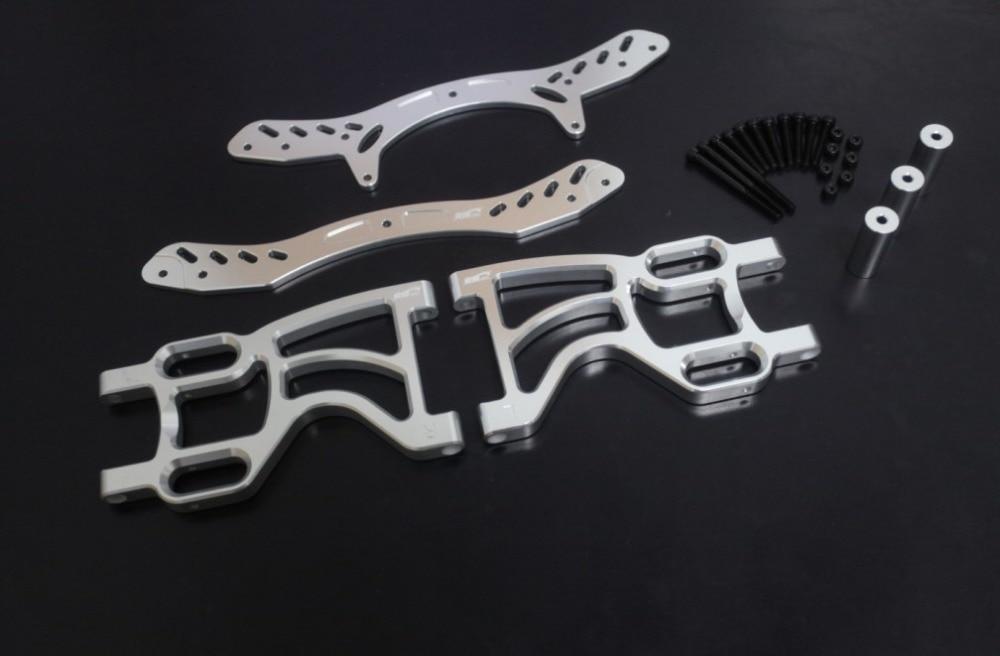 baja 5b Rear double shock bracket set sliver color 66073 baja metal beadlock ring set 8pc 4pc inner 4pc outer sliver color