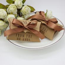 100Pieces/pack New Style Kraft Pillow Shape Wedding Favor Gift Box Party Candy Free Shipping