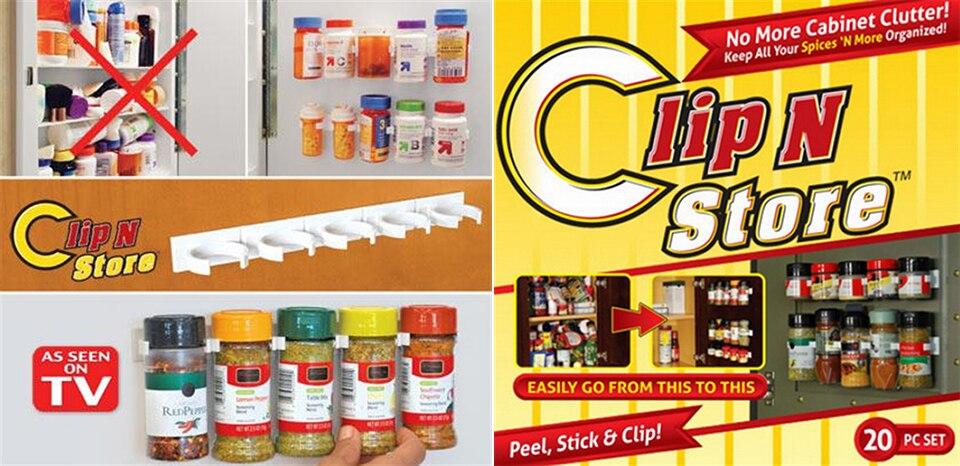 20 PC SET New Kitchen Clip Spice Gripper Jar Rack Storage Holder Wall Cabinet Door Storage Racks Kitchen Tools Bathroom Shelves (8)