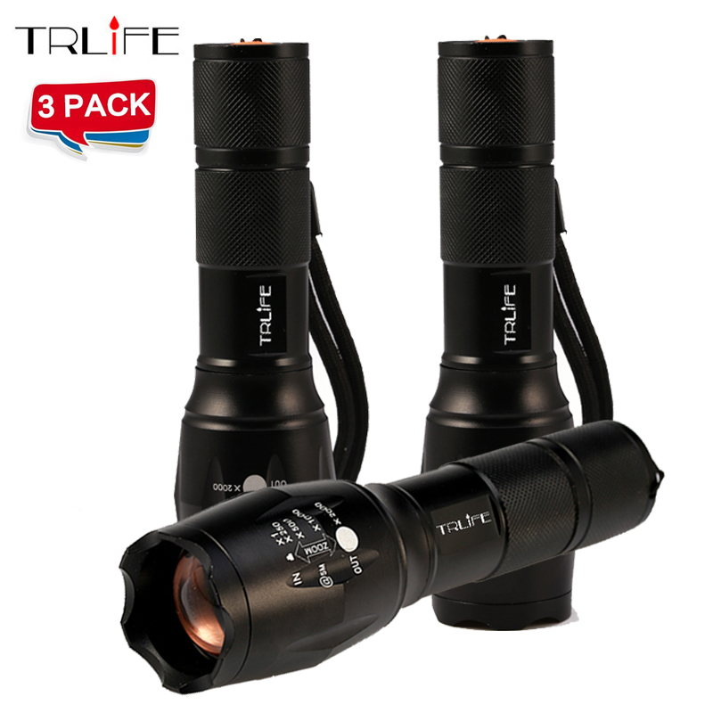 1/2/3 PCS 8000 Lumens Flashlight 5-Mode -L T6 LED Flashlight Zoomable Focus Torch by 1*18650 Battery or 3*AAA Battery newest 100% authentic 3800 lumens 5 mode xm l t6 led flashlight zoomable rechargeable focus torch by 1 18650 or 3 aaa
