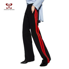 Вечно 2017 Женщины Длинные Брюки Случайный Стиль Боковой Ремень красный Полосатый Шить Широкие Брюки Ноги Черный Случайные Свободные Брюки M-356