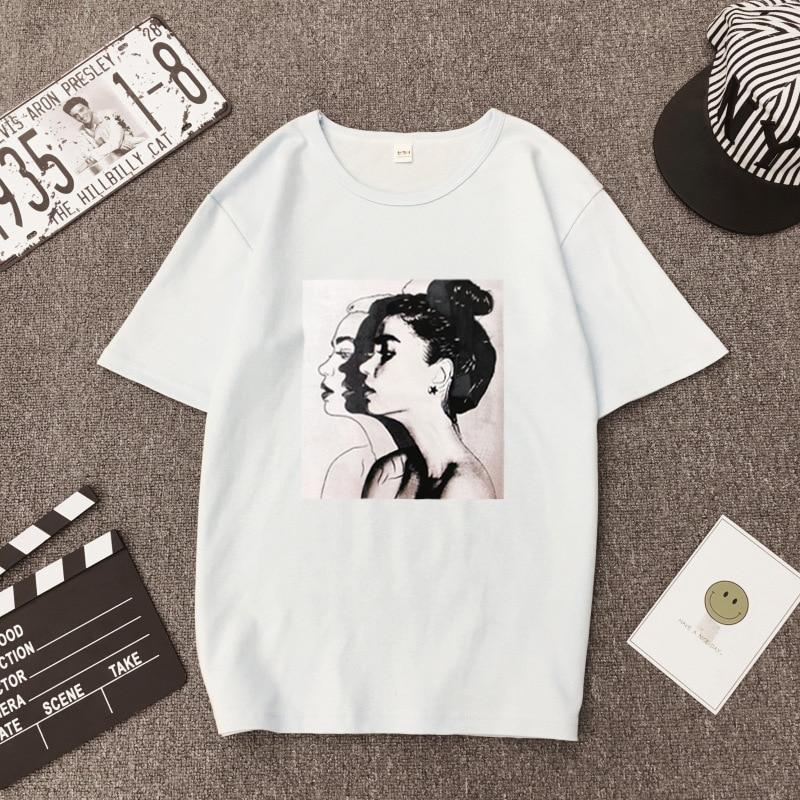 Girls Print Short Sleeve O Neck Cotton Spandex Top Slim Fit Soft T-shirt 19