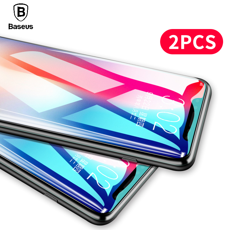 2PCS,Baseus Screen Protector Tempered Glass For iPhone X 10 0.3mm 9H Toughened Protective Film For iPhoneX 10 Glass Protection