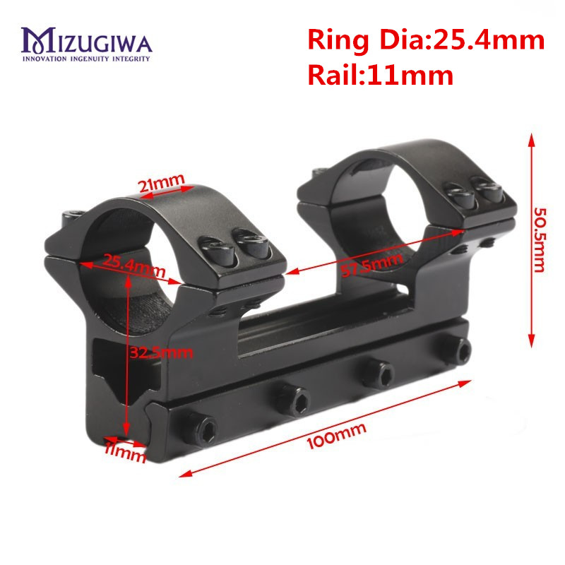 MIZUGIWA Tactical 25.4 mm / 30mm One Piece Double Scope Rings Higher Mount Dovetail Ring 11mm / 20 Weaver Rail Pistol Airsoft