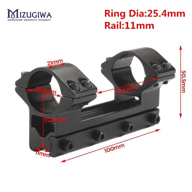 MIZUGIWA Tactique 25.4mm/30mm D'une Seule Pièce À Double Portée Anneaux supérieur Mont Queue D'aronde Anneau 11mm/20 Weaver Rail Pistolet Airsoft
