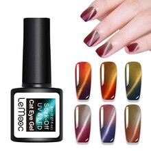 LEMOOC Thermal Cat Eye Nail Gel Polish 8ml Temperature Color Changing Lacquer Soak Off UV Varnish Manicure for Art