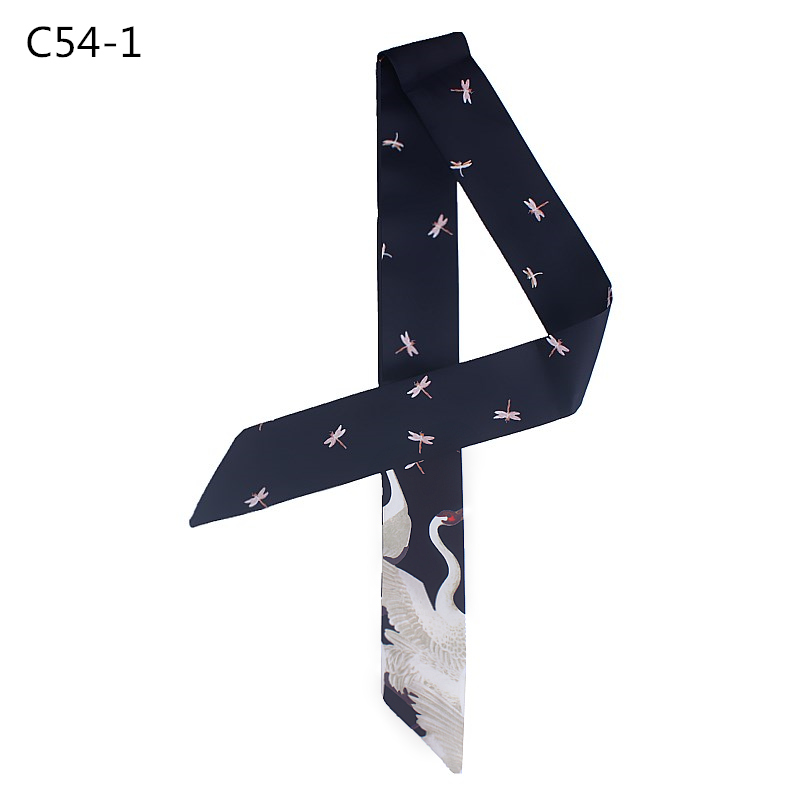 POBING Fashion Red-crowned Crane Print Silk   Scarf   Women Head   Scarf   Brand Small Tie Handle Bag Ribbon Long   Scarves     Wraps   100*5CM