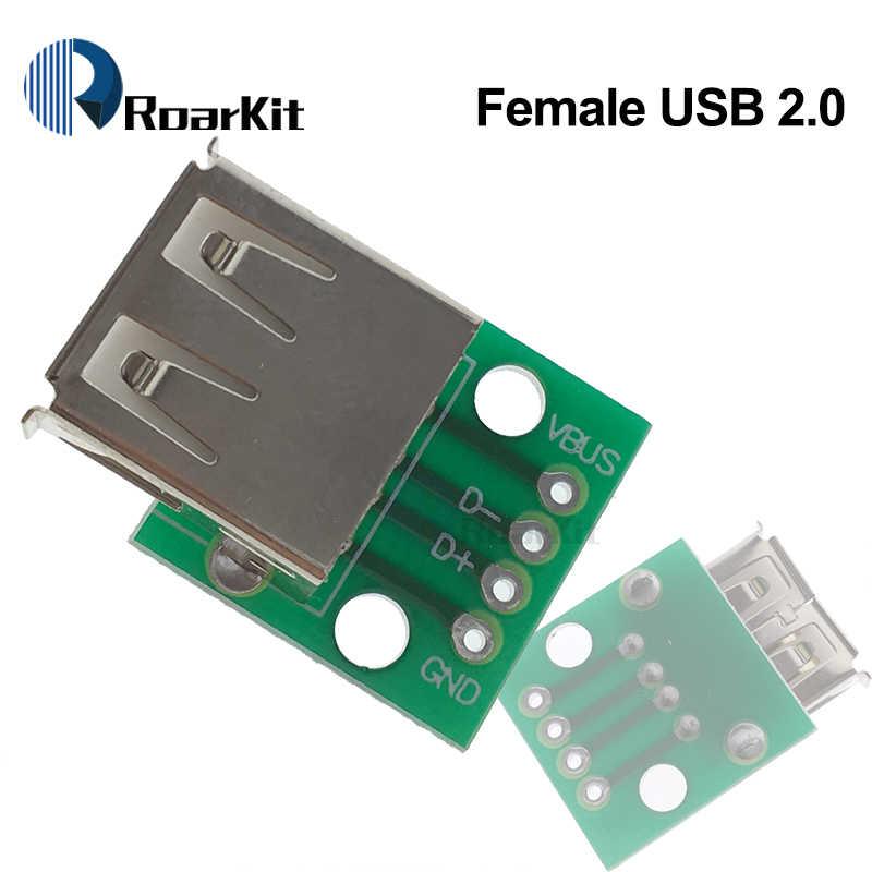 USB الذكور موصل/البسيطة المصغّر USB إلى تراجع لوح مهايئ 2.54 مللي متر 5pin موصل سالب B نوع-C USB2.0 3.0 الإناث PCB محول