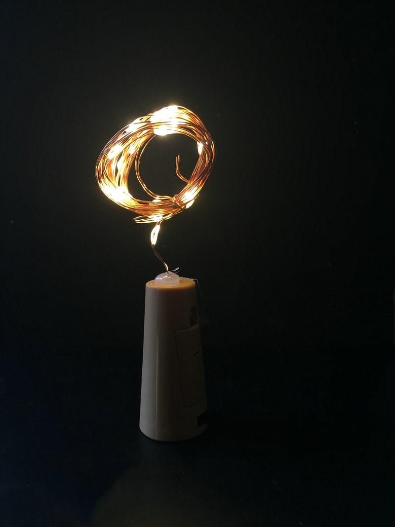 4 Pièces 2 M 20leds Flexible Flexible Fil De Cuivre Chaîne De Lumière En Forme De Liège De Vin Bouchon De Bouteille Fée étoilée Vigne Lampe Bricolage Décor De Vase