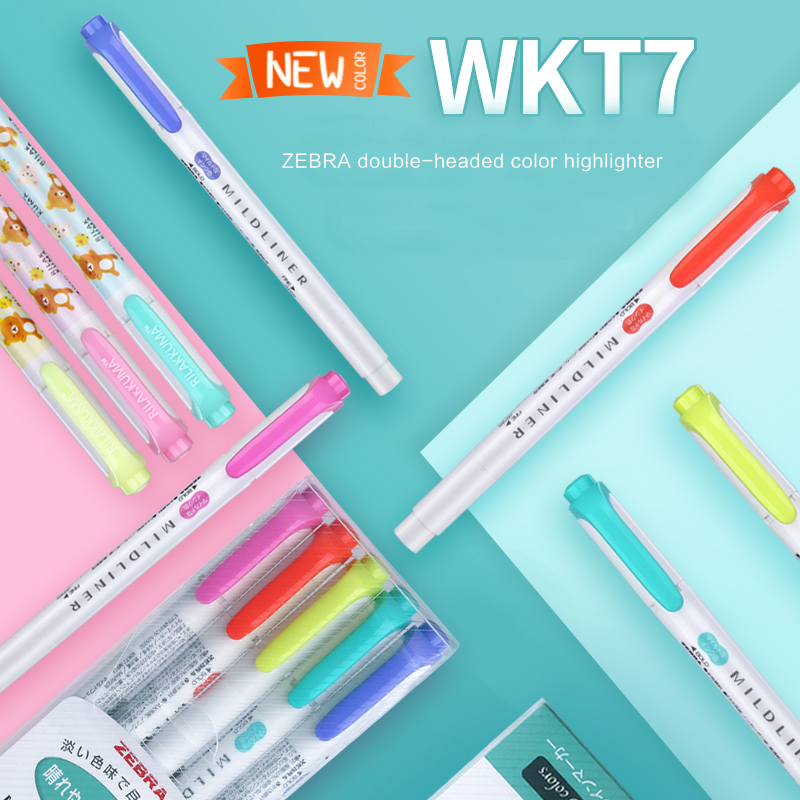 TUNACOCO Zebra Wkt7 Double Head Fluorescent Pen Highlighters Marker Japanese Stationery School Office Supplies bb1710169