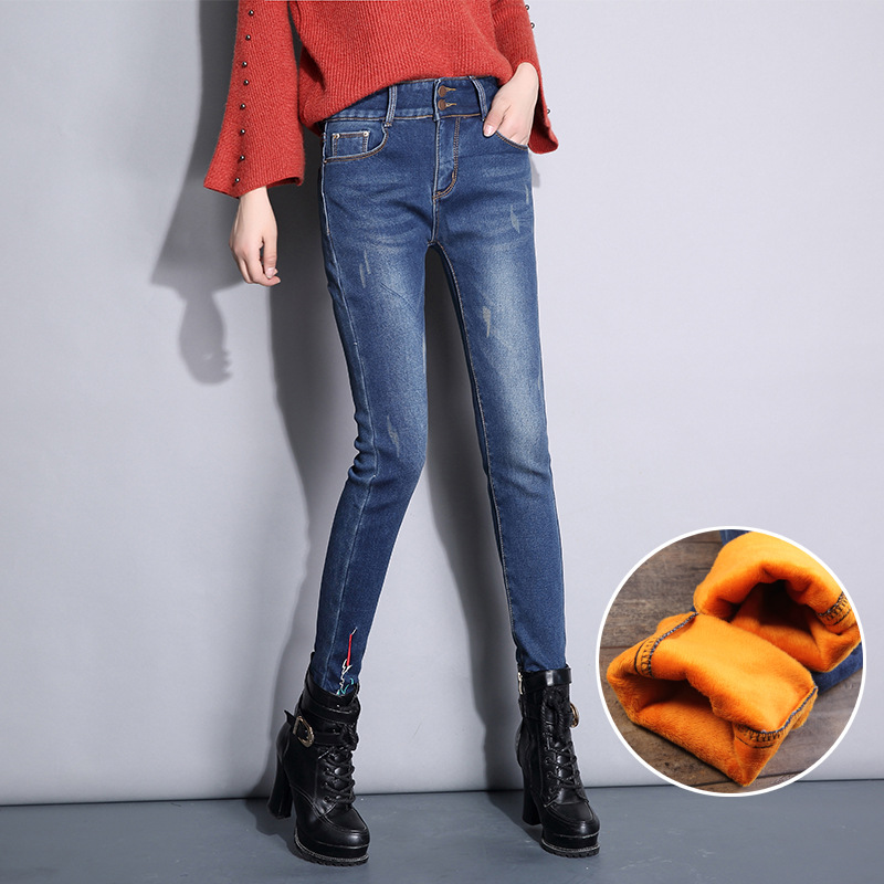 Nonis Thick Warm Velvet Winter Stretch Women Jeans High Waist Long Denim Cowboy Pants Slim Fit Elastic Pencil Trousers