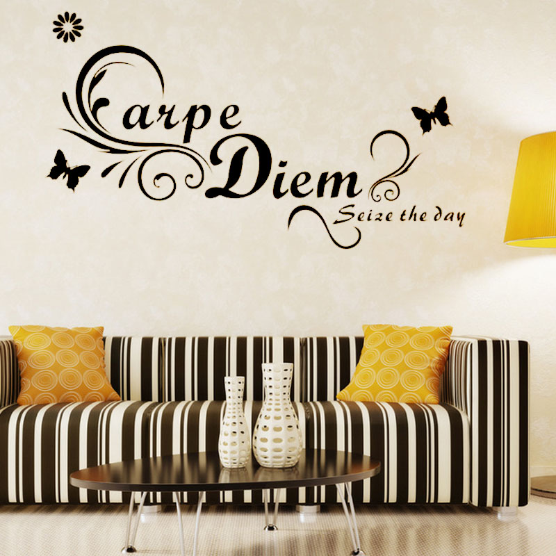 Carpe Diem Seize The Day Butterflies Wall Decal Removable Art Word Home Decor Large Size Living Room Sticker