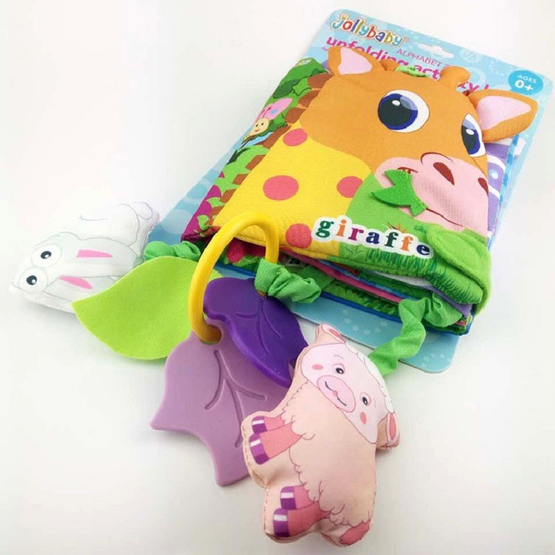 Infant Activity Book Cartoon Animal Soft Baby Educational Toy Cloth Book Plush Animal Story Intelligence Developing Toy KF030 13