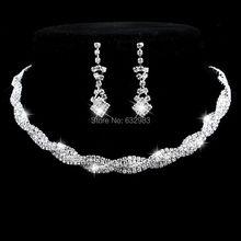Moda Sparkling Rhinestone Crystal Gargantilla Joyería de La Boda Pendientes Del Collar Del Encanto de Plata