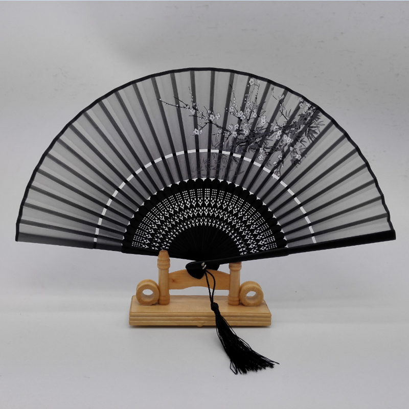 Hot Sale Japanese Ladies Cheaper Bamboo Folding Hand Fans,Wholesale Personalized Bamboo Fan of Old Wedding Decoration Black 2