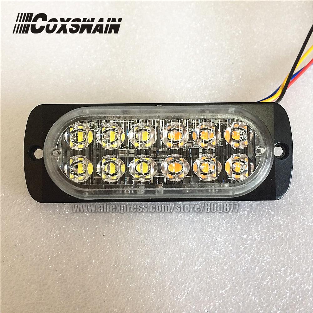 """Extra dünne LED-Warnfläche Grillleuchte, 0,3 """"dünn, 17 Blitzmuster, 12 * 3W LED, kann Blitz synchronisieren oder ändern (A12)"""