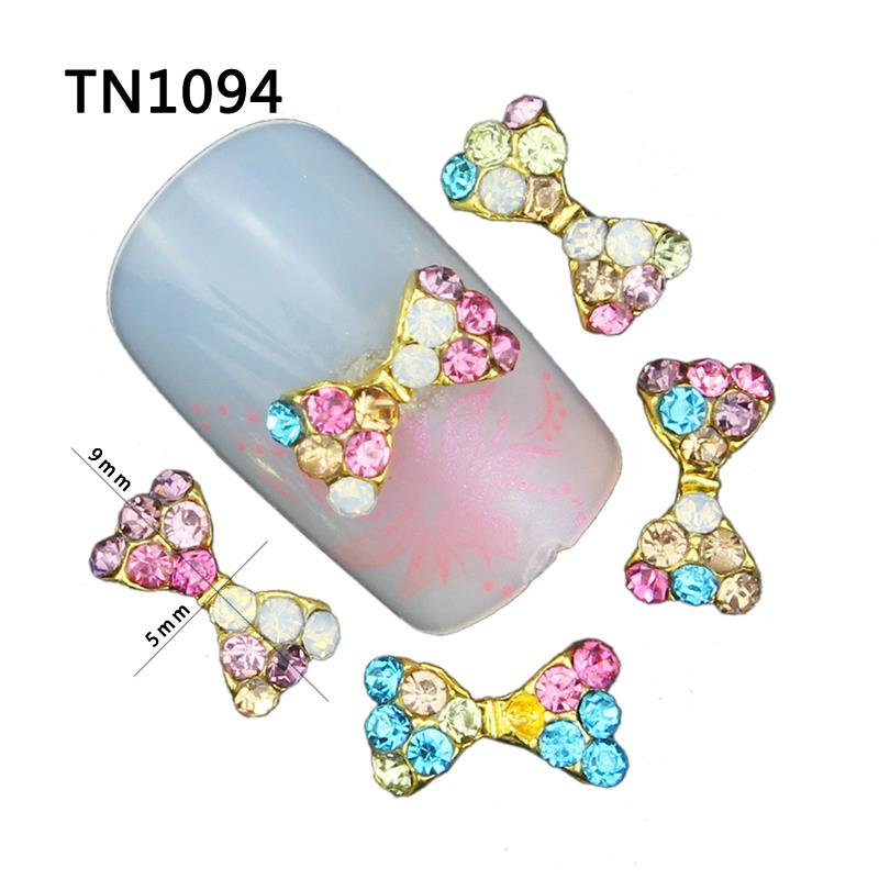 10 Pcs 3D Nail Art Decorations Gold Alloy Diy Glitter Bow With Colorful Charm Rhinestones Tools Used On Nails Polish Gel UV gold and silver mixed styles acrylic 3d nail art decorations nail glitter rhinestone for uv gel nail polish