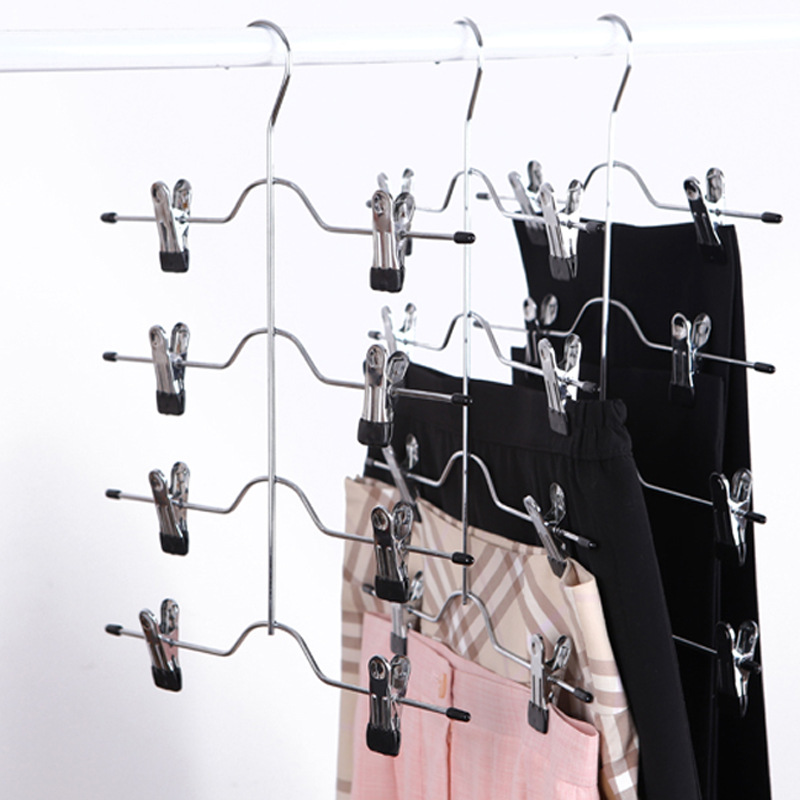 1PC MultiFunctional Four -Layer Stainless Steel Trousers Clip Skirt Pants Hanger Rack With 8 Clips Storage Organizer Save Space