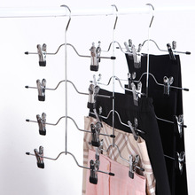 1PC MultiFunctional Four-Layer Pantaloni in acciaio inossidabile Clip Skirt Pants Hanger Rack con 8 clip di archiviazione Organizer Salva lo spazio