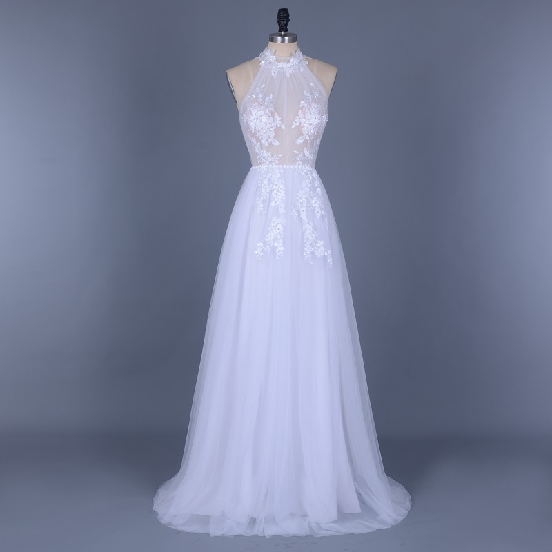 Vintage Boho Appliques Beading Tulle Wedding Dress