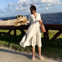 2019 Women Dress Fashion Summer Elegant Slim Bodycon Casual Party Beach Runway Cotton and Linen White Long Dress