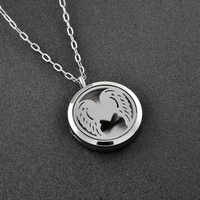 Ijp0178 Free Pads Top Women Angel Heart Wing Perfume Essential Oil Diffuser Pendant Necklace