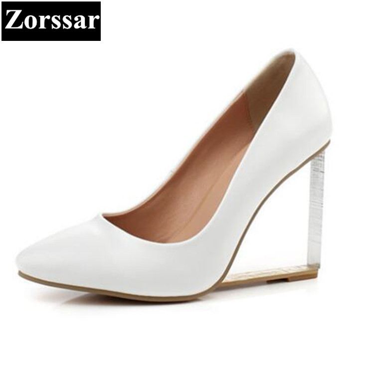 2017NEW BIG size 33-43 Genuine leather Womens shoes wedges Pointed Toe high heels women Office & Career shoes woman Single shoes 2017 new spring autumn big size 11 12 dress sweet wedges women shoes pointed toe woman ladies womens