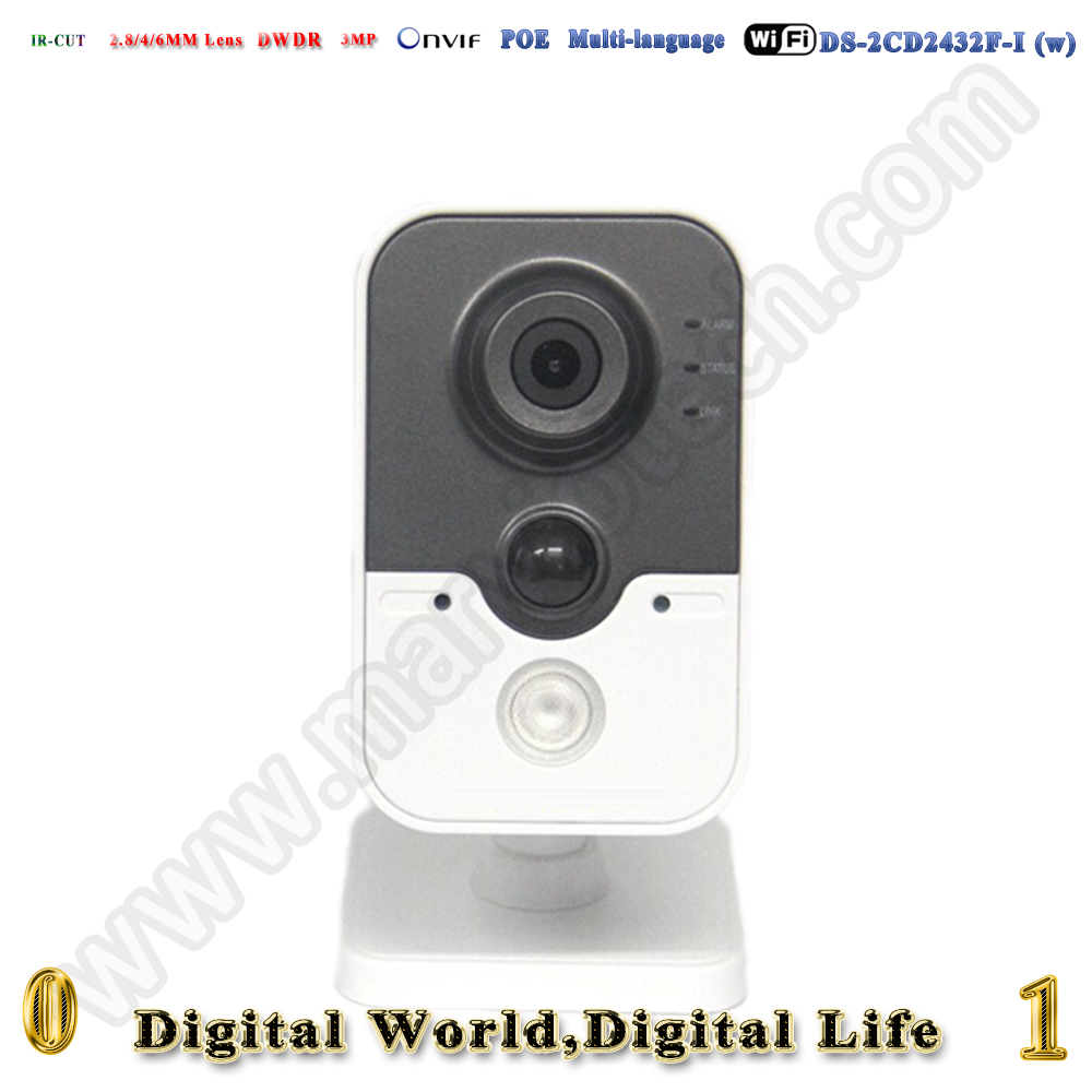 ds 2cd2432f iw wireless 3MP poe ip camera Built in microphone network cctv camera wifi kamera