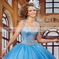 Meninas Doce 16 Vestidos Blue Ball Gown Sweetheart com Alças Festas Online Quinceanera Vestidos de Luxo 2016 Cristais Sparkly