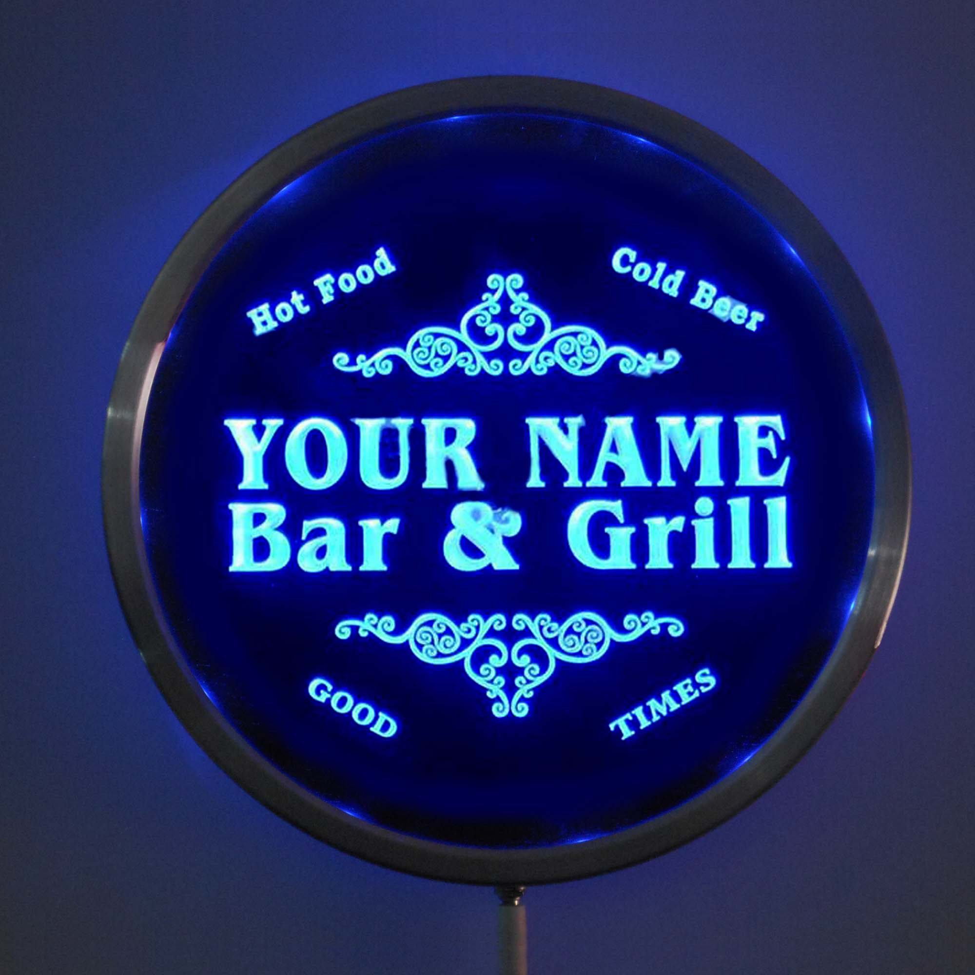 rs-u-tm Custom LED Neon Round Signs 25cm/ 10 Inch - Personalized Bar & Grill Sign RGB Multi-Color Remote Wireless Control